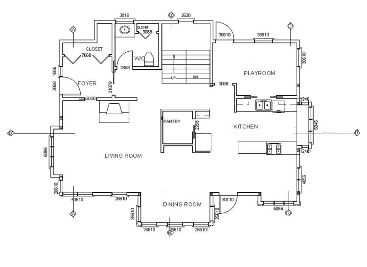detailed floor plan for cross sections